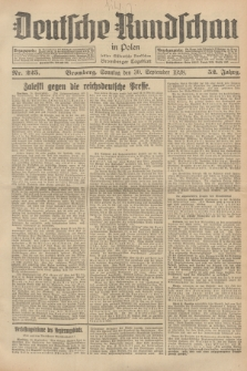 Deutsche Rundschau in Polen : früher Ostdeutsche Rundschau, Bromberger Tageblatt. Jg.52, Nr. 225 (30 September 1928) + dod.