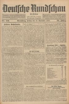 Deutsche Rundschau in Polen : früher Ostdeutsche Rundschau, Bromberger Tageblatt. Jg.54, Nr. 216 (19 September 1930) + dod.