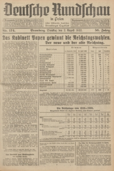 Deutsche Rundschau in Polen : früher Ostdeutsche Rundschau, Bromberger Tageblatt. Jg.56, Nr. 174 (2 August 1932) + dod.