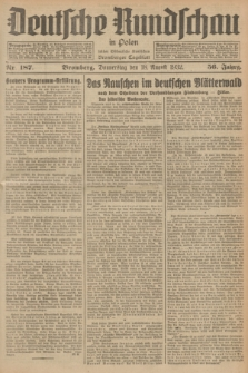 Deutsche Rundschau in Polen : früher Ostdeutsche Rundschau, Bromberger Tageblatt. Jg.56, Nr. 187 (18 August 1932) + dod.