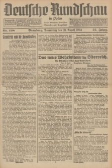 Deutsche Rundschau in Polen : früher Ostdeutsche Rundschau, Bromberger Tageblatt. Jg.57, Nr. 198 (31 August 1933) + dod.