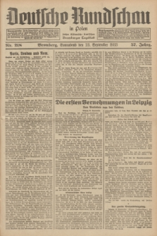 Deutsche Rundschau in Polen : früher Ostdeutsche Rundschau, Bromberger Tageblatt. Jg.57, Nr. 218 (23 September 1933) + dod.
