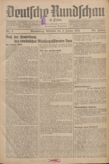 Deutsche Rundschau in Polen : früher Ostdeutsche Rundschau, Bromberger Tageblatt. Jg.58, Nr. 1 (3 Januar 1934) + dod.
