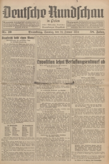 Deutsche Rundschau in Polen : früher Ostdeutsche Rundschau, Bromberger Tageblatt. Jg.58, Nr. 10 (14 Januar 1934) + dod.