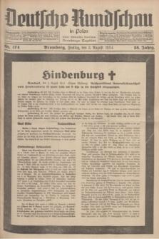 Deutsche Rundschau in Polen : früher Ostdeutsche Rundschau, Bromberger Tageblatt. Jg.58, Nr. 174 (3 August 1934) + dod.
