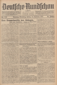 Deutsche Rundschau in Polen : früher Ostdeutsche Rundschau, Bromberger Tageblatt, Pommereller Tageblatt. Jg.61, Nr. 219 (24 September 1937) + dod.