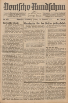 Deutsche Rundschau in Polen : früher Ostdeutsche Rundschau, Bromberger Tageblatt, Pommereller Tageblatt. Jg.61, Nr. 271 (26 November 1937) + dod.