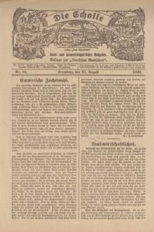 """Die Scholle : früher """"Der Ostmärker"""" : land- und hauswirtschaftlicher Ratgeber : Beilage zur """"Deutschen Rundschau"""". 1922, Nr. 16 (27 August)"""