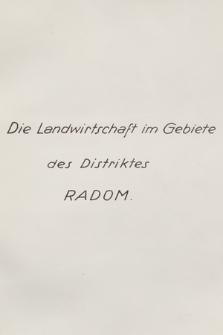 """""""Die Landwirtschaft im Gebiete des Distriktes Radom"""""""