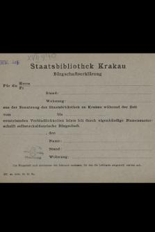 Staatsbibliothek Krakau : Bürgschaftserklärung