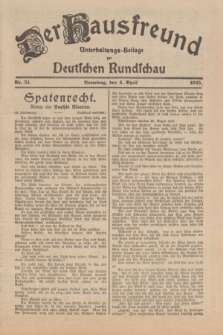 Der Hausfreund : Unterhaltungs-Beilage zur Deutschen Rundschau. 1925, Nr. 51 (4 April)