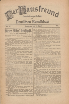 Der Hausfreund : Unterhaltungs-Beilage zur Deutschen Rundschau. 1926, Nr. 68 (16 April)