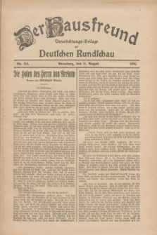 Der Hausfreund : Unterhaltungs-Beilage zur Deutschen Rundschau. 1926, Nr. 148 (11 August)