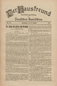 Der Hausfreund : Unterhaltungs-Beilage zur Deutschen Rundschau. 1926, Nr. 152 (15 August)
