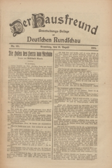 Der Hausfreund : Unterhaltungs-Beilage zur Deutschen Rundschau. 1926, Nr. 161 (26 August)