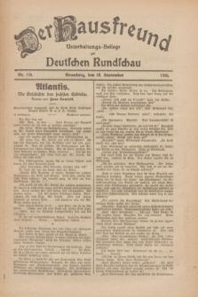 Der Hausfreund : Unterhaltungs-Beilage zur Deutschen Rundschau. 1926, Nr. 176 (16 September)