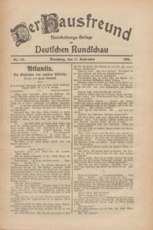 Der Hausfreund : Unterhaltungs-Beilage zur Deutschen Rundschau. 1926, Nr. 177 (17 September)