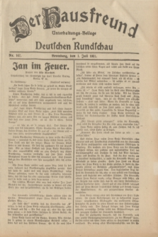 Der Hausfreund : Unterhaltungs-Beilage zur Deutschen Rundschau. 1931, Nr. 147 (1 Juli)