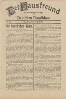 Der Hausfreund : Unterhaltungs-Beilage zur Deutschen Rundschau. 1931, Nr. 171 (29 Juli)