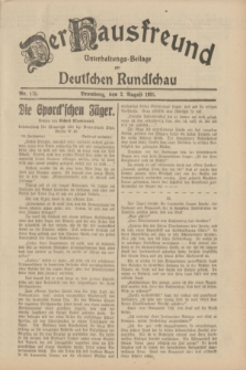 Der Hausfreund : Unterhaltungs-Beilage zur Deutschen Rundschau. 1931, Nr. 175 (2 August)