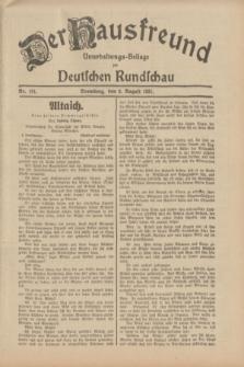 Der Hausfreund : Unterhaltungs-Beilage zur Deutschen Rundschau. 1931, Nr. 181 (9 August)
