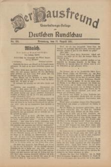 Der Hausfreund : Unterhaltungs-Beilage zur Deutschen Rundschau. 1931, Nr. 183 (12 August)