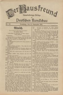 Der Hausfreund : Unterhaltungs-Beilage zur Deutschen Rundschau. 1931, Nr. 207 (10 September)