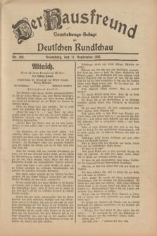 Der Hausfreund : Unterhaltungs-Beilage zur Deutschen Rundschau. 1931, Nr. 208 (11 September)