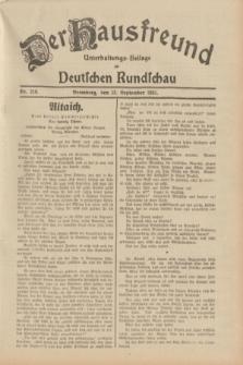 Der Hausfreund : Unterhaltungs-Beilage zur Deutschen Rundschau. 1931, Nr. 210 (13 September)