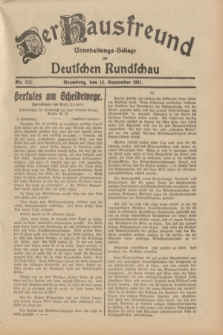 Der Hausfreund : Unterhaltungs-Beilage zur Deutschen Rundschau. 1931, Nr. 212 (16 September)