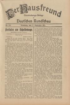Der Hausfreund : Unterhaltungs-Beilage zur Deutschen Rundschau. 1931, Nr. 213 (17 September)