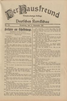 Der Hausfreund : Unterhaltungs-Beilage zur Deutschen Rundschau. 1931, Nr. 214 (18 September)