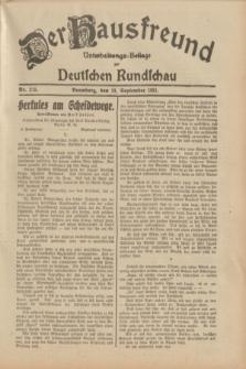 Der Hausfreund : Unterhaltungs-Beilage zur Deutschen Rundschau. 1931, Nr. 215 (19 September)