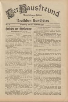 Der Hausfreund : Unterhaltungs-Beilage zur Deutschen Rundschau. 1931, Nr. 221 (26 September)