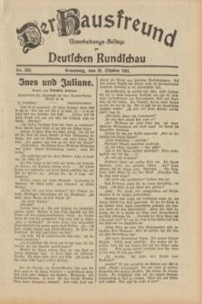Der Hausfreund : Unterhaltungs-Beilage zur Deutschen Rundschau. 1931, Nr. 249 (29 Oktober)