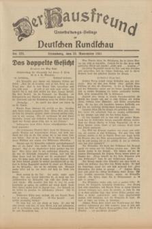 Der Hausfreund : Unterhaltungs-Beilage zur Deutschen Rundschau. 1931, Nr. 272 (25 November)