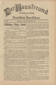 Der Hausfreund : Unterhaltungs-Beilage zur Deutschen Rundschau. 1931, Nr. 287 (13 Dezember)