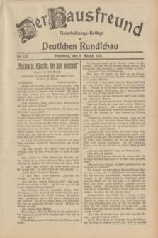 Der Hausfreund : Unterhaltungs-Beilage zur Deutschen Rundschau. 1932, Nr. 175 (3 August)