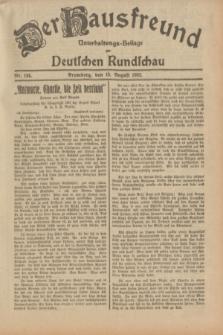 Der Hausfreund : Unterhaltungs-Beilage zur Deutschen Rundschau. 1932, Nr. 184 (13 August)