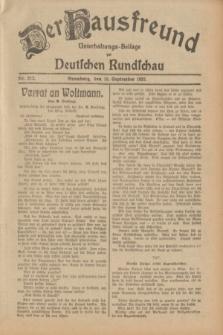 Der Hausfreund : Unterhaltungs-Beilage zur Deutschen Rundschau. 1932, Nr. 212 (16 September)