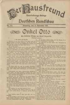 Der Hausfreund : Unterhaltungs-Beilage zur Deutschen Rundschau. 1932, Nr. 218 (23 September)
