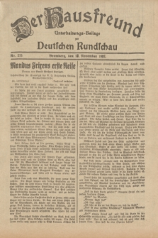 Der Hausfreund : Unterhaltungs-Beilage zur Deutschen Rundschau. 1932, Nr. 273 (27 November)