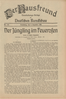 Der Hausfreund : Unterhaltungs-Beilage zur Deutschen Rundschau. 1932, Nr. 279 (4 Dezember)