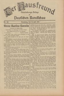 Der Hausfreund : Unterhaltungs-Beilage zur Deutschen Rundschau. 1933, Nr. 162 (19 Juli)