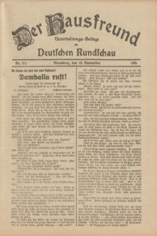 Der Hausfreund : Unterhaltungs-Beilage zur Deutschen Rundschau. 1933, Nr. 211 (15 September)