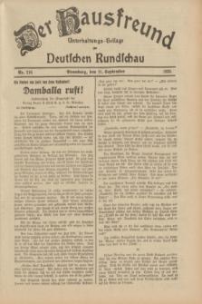 Der Hausfreund : Unterhaltungs-Beilage zur Deutschen Rundschau. 1933, Nr. 216 (21 September)