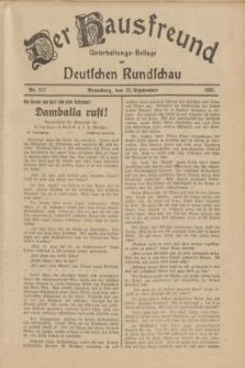 Der Hausfreund : Unterhaltungs-Beilage zur Deutschen Rundschau. 1933, Nr. 217 (22 September)