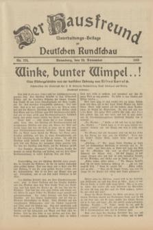Der Hausfreund : Unterhaltungs-Beilage zur Deutschen Rundschau. 1933, Nr. 274 (29 November)