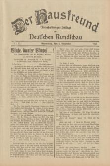 Der Hausfreund : Unterhaltungs-Beilage zur Deutschen Rundschau. 1933, Nr. 277 (2 Dezember)
