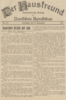 Der Hausfreund : Unterhaltungs-Beilage zur Deutschen Rundschau. 1935, Nr. 214 (18 September)